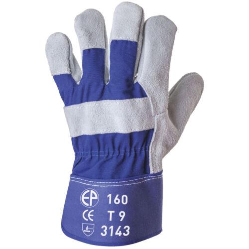 Bőrkesztyű, 3143, szürke erős marhahasíték / kék vászon