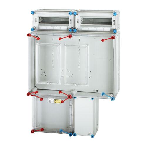 Fogyasztásmérő szekrény,  2 mérőhelyes, elosztós felületre szerelhető kivitel